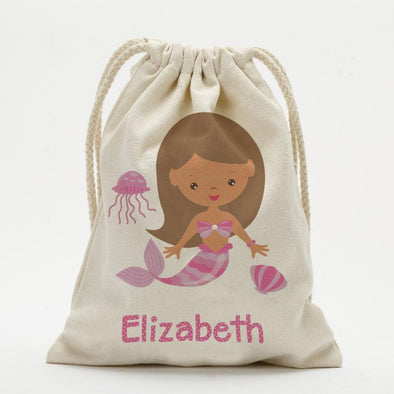 Personalized Mermaid Drawstring Sack.