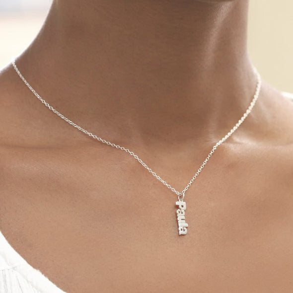 Personalized Mini Name Necklace in Silver.
