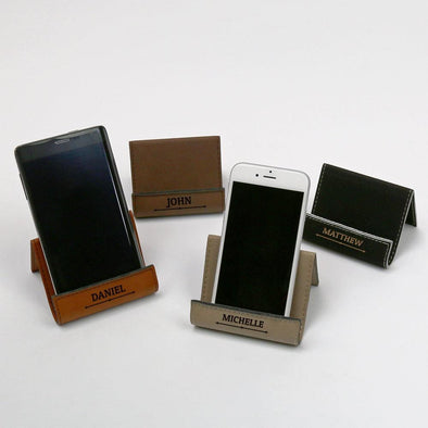 Personalized Leatherette Phone Holder Easel Cell Phone Stand.