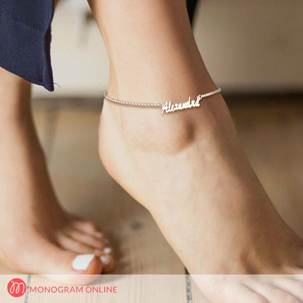 Personalized Name Anklet in Sterling Silver