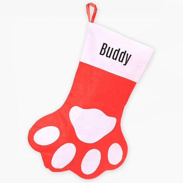Personalized Paw Print Christmas Stocking.