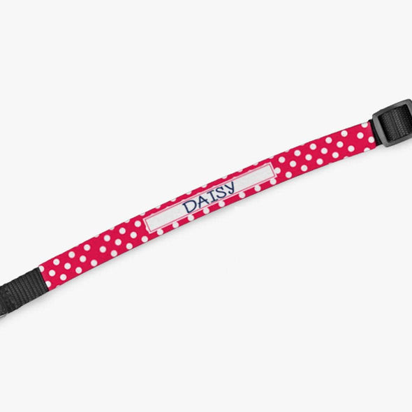 Personalized Pink Polka Dot Dog Collar.