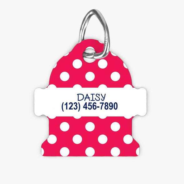 Personalized Pink Polka Dot Fire Hydrant Dog ID Tag.