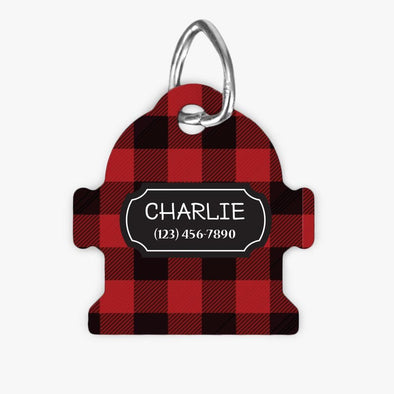 Personalized Plaid Fire Hydrant Dog ID Tag.
