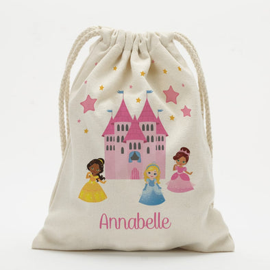 Personalized Princess Castle Drawstring Sack.