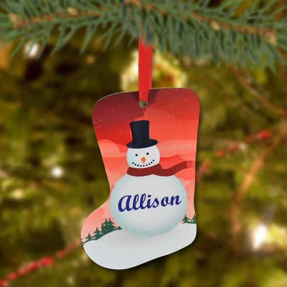 Personalized Christmas Stocking Metal Ornament