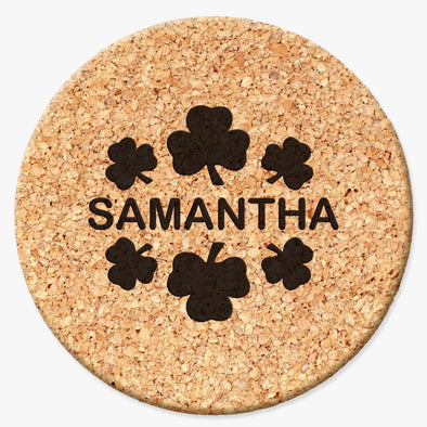 Personalized Shamrock Round Cork Coasters