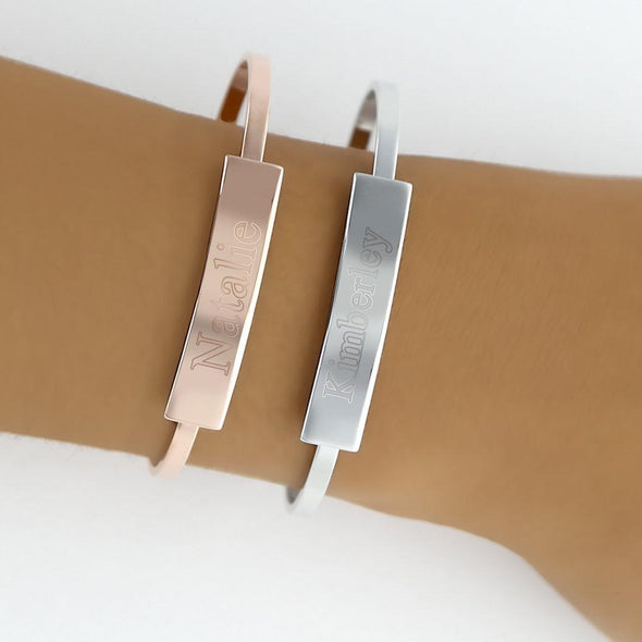 Silver Tone Personalized Tab Cuff Bracelet.