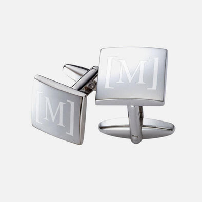 Personalized Single Initial Square Cuff Links.