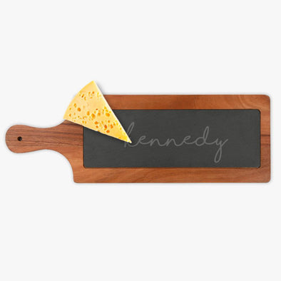 Personalized w/ Name Slate and Acacia Wood Paddle Board | Custom Cheese Board