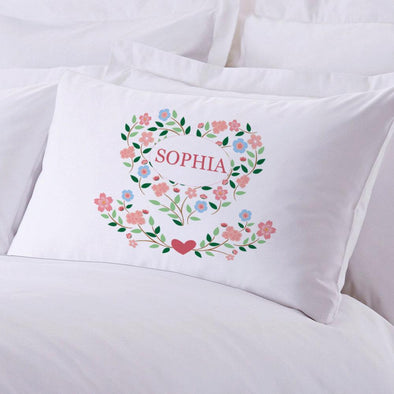 Personalized Floral Hearts Sleeping Pillowcase