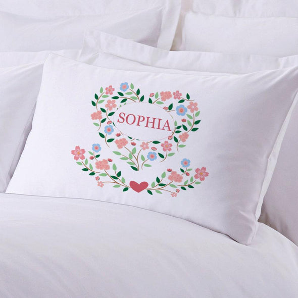 Personalized Floral Hearts Sleeping Pillowcase.