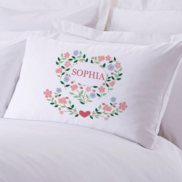 Exclusive Sale - Personalized Sleeping Floral Hearts Sleeping Pillowcase