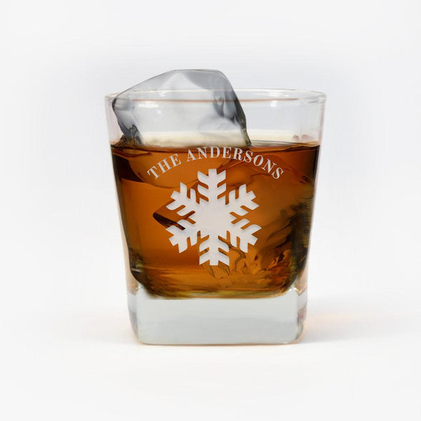 Personalized Snowflake Whiskey Glass.