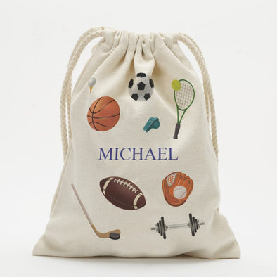 Personalized Sports Kids Drawstring Sack.