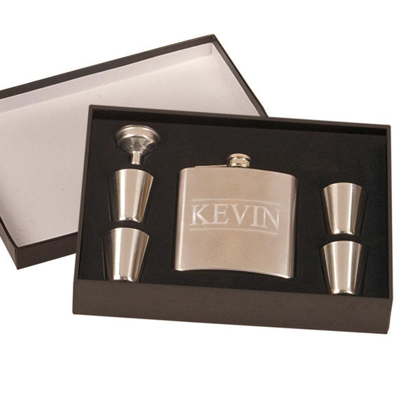 Personalized Stainless Steel Flask Set in Gift Box.