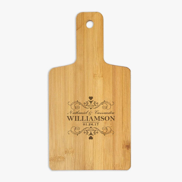 Personalized Swirls and Hearts Wooden Serving Board.