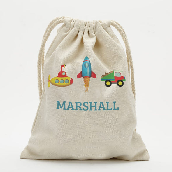 Personalized Transportation Kids Drawstring Sack.