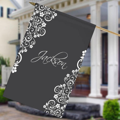 Personalized Vine Design House Flag.