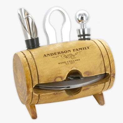 Exclusive Sale - Personalized Wine Cellars 4 Piece Barrel Tool Set.