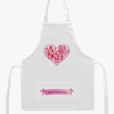 Personalized XoXo Heart Kids Craft Apron.