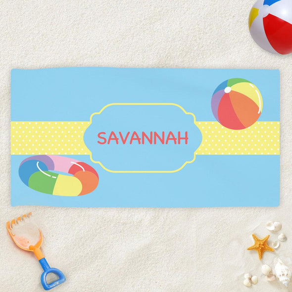 Pool Fun Personalized Beach Towel for Kids.