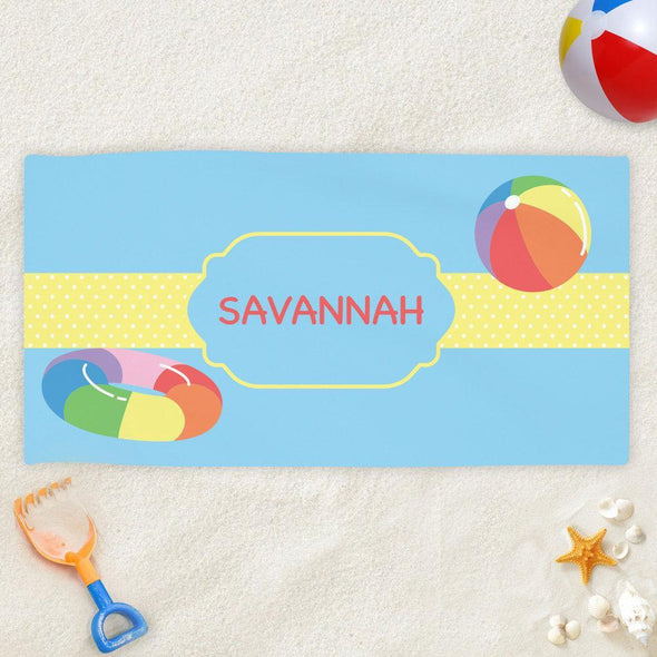 Pool Fun Personalized Beach Towel for Kids