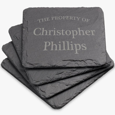 Property Of Personalized Square Slate Coasters.