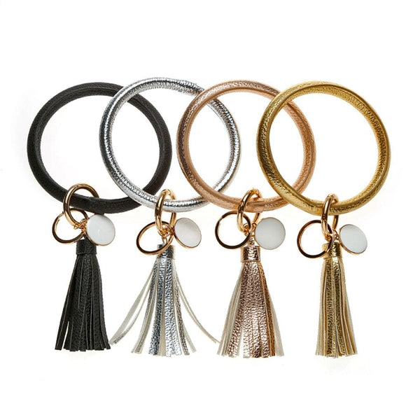 Non Personalized | Wristlet Keychain Bangle with Tassel.