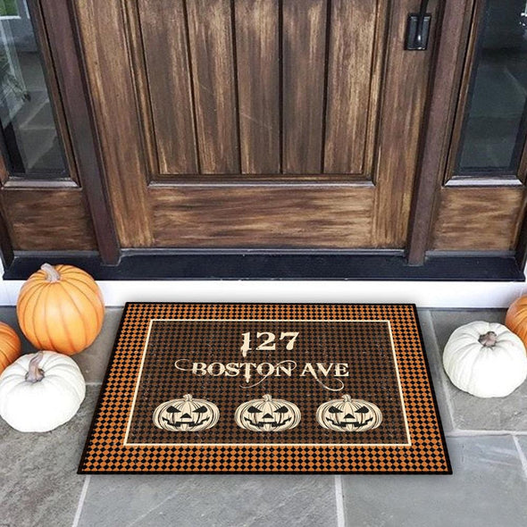 Pumpkin Heads Halloween Personalized Doormat.