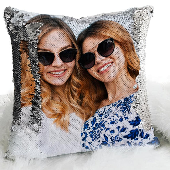 Photo Personalized Flip Sequin Pillow | Personalized Reversible Mermaid Sequin Throw.
