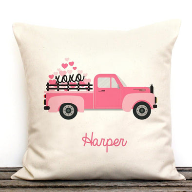 Vintage Pink Ride Personalized Decorative Canvas Throw Pillowcase.