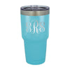 Script Monogram 30 oz Colored Coffee Tumbler w/Clear Lid