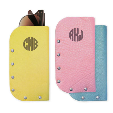 Block Monogram Genuine Leather Eyeglass Case.