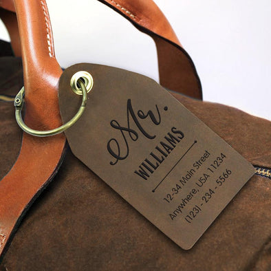 Custom Mr & Mrs Genuine Leather Luggage Tag.