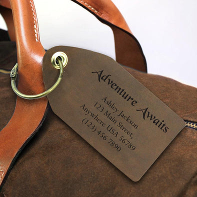 Exclusive Sale - Adventure Awaits Custom Leather Luggage Tag.