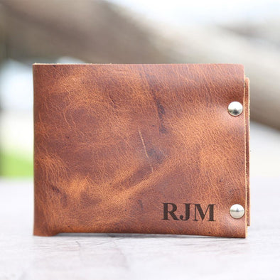Personalized Genuine Leather Bi-Fold Wallet.