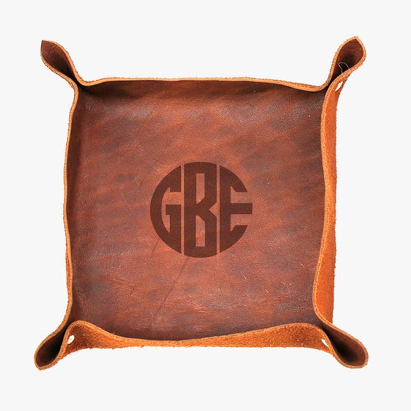 Genuine Leather Personalized w/ Monogram Stash Tray