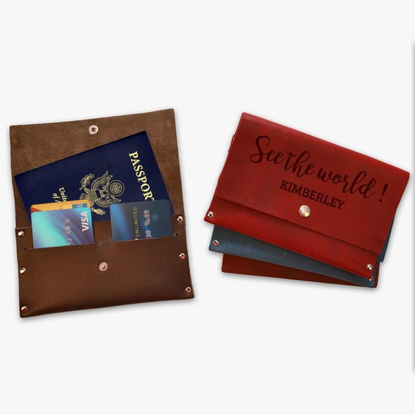 See The World Custom Genuine Leather Passport Cover Wallet.