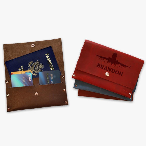 Custom Flight Genuine Leather Passport Cover Wallet.