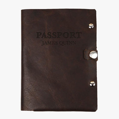 Personalized Authentic Leather Passport Holder.