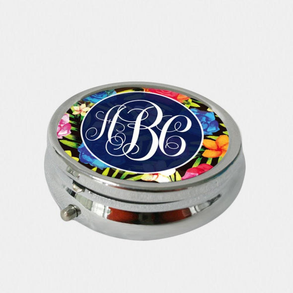 Round Floral Night Design Monogram Pill Box