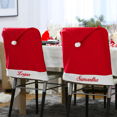 Personalized Santa Hat Chair Cover.
