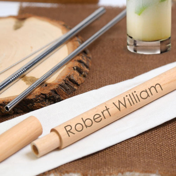 Reusable Stainless Steel Set of Drinking Straws w/ Personalized Wooden Case