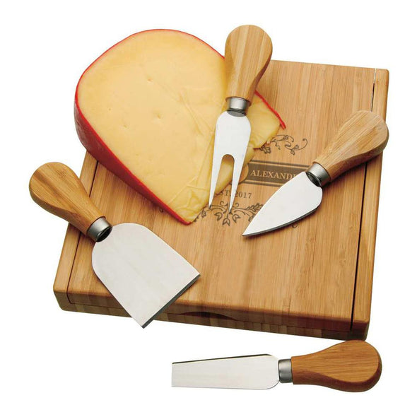 Couples Personalized 4 Piece Bamboo Cheese Set | Custom Cheese Board with Tools.