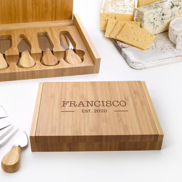 Established Custom 4 Piece Bamboo Cheese Set.