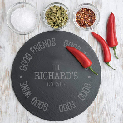 Good Food Personalized Round Slate Cheese Tray | Custom Cheese Board.