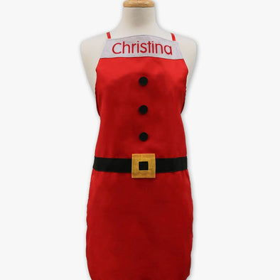 Santa Suit Personalized Christmas Adult Apron.