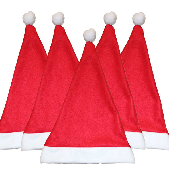SET OF 5 Traditional Christmas Santa Hat Bundle | Felt Xmas Santa Hats.
