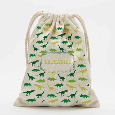 Custom Dinosaur Kids Drawstring Sack.